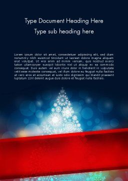 Snowflakes Christmas Tree Word Template, Cover Page, 12796, Holiday/Special Occasion — PoweredTemplate.com
