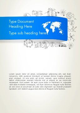 World Map and Charts Word Template, Cover Page, 12806, Business Concepts — PoweredTemplate.com
