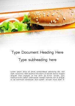 Cheese Burger with Salad Word Template, Cover Page, 12811, Food & Beverage — PoweredTemplate.com