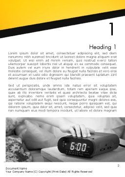 Wake Up Early Alarm Clock Word Template, First Inner Page, 12821, Business Concepts — PoweredTemplate.com