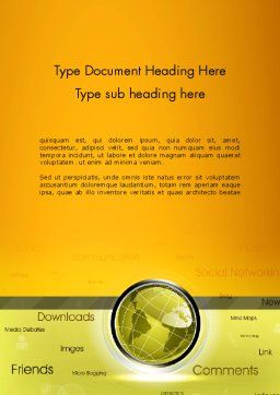 Globe with Internet Related Words Word Template, Cover Page, 12845, Careers/Industry — PoweredTemplate.com