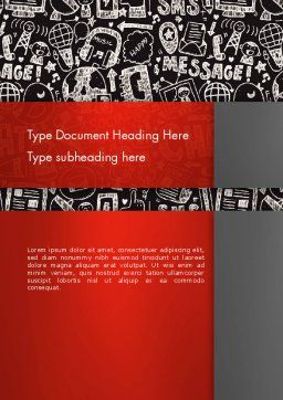 Message Doodles Word Template, Cover Page, 12875, Telecommunication — PoweredTemplate.com
