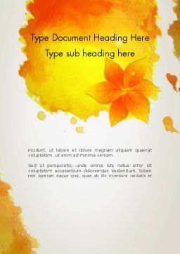 Ink Watercolor with Yellow Leaves Word Template Cover Page