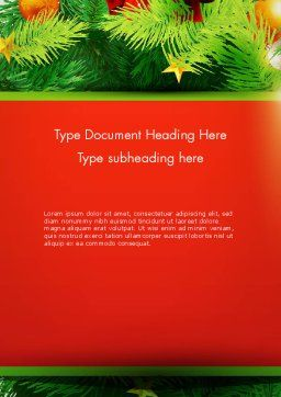 Christmas Fir Branches Word Template, Cover Page, 12888, Holiday/Special Occasion — PoweredTemplate.com
