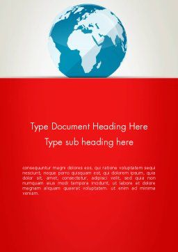 Globe in Flat Style Word template Cover Page