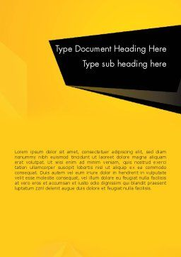 Geometric Black and Yellow Word Template, Cover Page, 12910, Business — PoweredTemplate.com