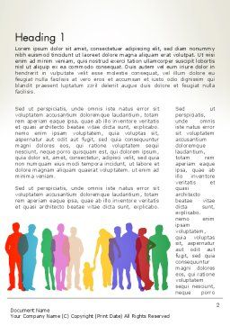 Colored People Silhouettes Standing Word Template, First Inner Page, 12915, People — PoweredTemplate.com