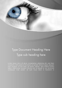 Closeup of Very Blue Eye Word Template, Cover Page, 12916, People — PoweredTemplate.com