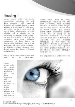 Closeup of Very Blue Eye Word Template, First Inner Page, 12916, People — PoweredTemplate.com