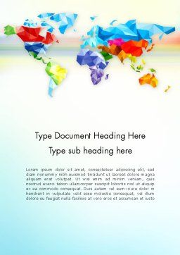 Colorful World Map in Polygonal Design Word Template Cover Page