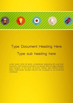 Yellow Background with Icons Word, Cover Page, 12943, Business — PoweredTemplate.com