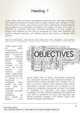 Objectives and Goals Word Cloud Word Template, First Inner Page, 12950, Business Concepts — PoweredTemplate.com