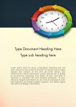 Around The Clock Process Word Template, Cover Page, 12952, Business Concepts — PoweredTemplate.com