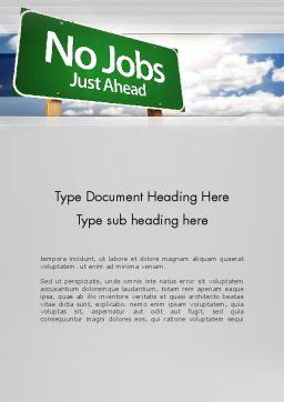 No Jobs Green Road Sign Word Template, Cover Page, 12961, Consulting — PoweredTemplate.com