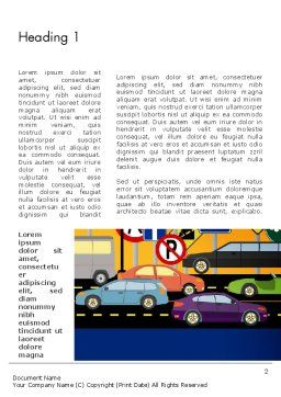 City Traffic Illustration Word Template, First Inner Page, 12966, Cars/Transportation — PoweredTemplate.com