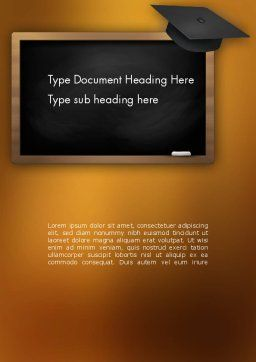 Blackboard with Mortarboard Word Template Cover Page