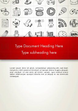 Doodle Icons Background Word Template, Cover Page, 12983, Business — PoweredTemplate.com