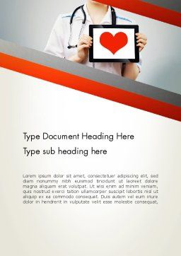 Doctor Holding a Tablet PC with Heart Word Template, Cover Page, 12994, Medical — PoweredTemplate.com
