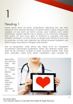 Doctor Holding a Tablet PC with Heart Word Template, First Inner Page, 12994, Medical — PoweredTemplate.com