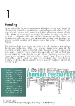 HR Word Cloud Word Template, First Inner Page, 12997, Careers/Industry — PoweredTemplate.com