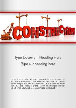 Building Construction Word Template, Cover Page, 13007, Construction — PoweredTemplate.com