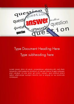 Answer to Questions Word Template, Cover Page, 13015, Business Concepts — PoweredTemplate.com