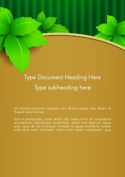 Green Leaves on Frame Word Template Cover Page
