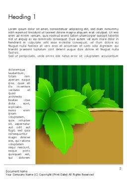 Green Leaves on Frame Word Template First Inner Page