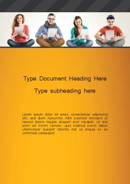 Young People with Tablets Word Template Cover Page