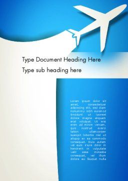 Plane Illustration Word Template Cover Page
