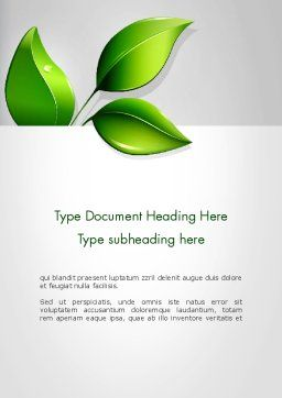 Ecological Theme Word Template Cover Page