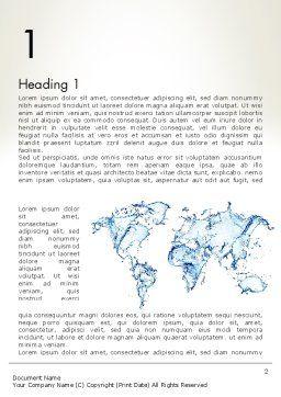 Blue Water Splash World Map Word Template, First Inner Page, 13051, Global — PoweredTemplate.com