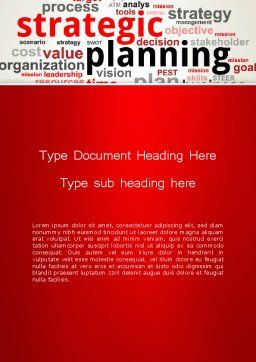 Strategic Planning and Management Word Cloud Word Template Cover Page