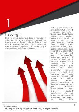 Red Arrows Moving Up Word Template, First Inner Page, 13064, Business Concepts — PoweredTemplate.com