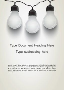 Three White Lamps in Garland Word Template, Cover Page, 13071, Careers/Industry — PoweredTemplate.com