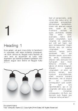 Three White Lamps in Garland Word Template, First Inner Page, 13071, Careers/Industry — PoweredTemplate.com