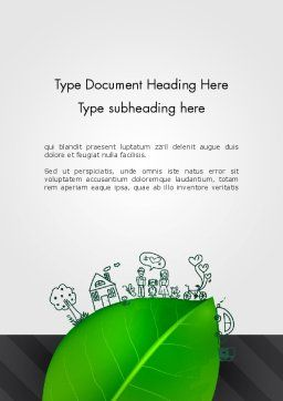 Green Environment Concept Word Template, Cover Page, 13072, Nature & Environment — PoweredTemplate.com