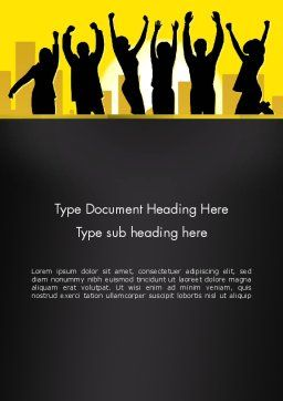 Jumping People Silhouettes Word Template Cover Page