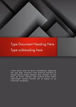 Gray Metal Blocs Word Template, Cover Page, 13087, Business — PoweredTemplate.com