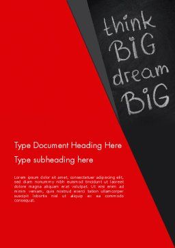 Think Big Dream Big on Chalk Board Word Template, Cover Page, 13097, Business Concepts — PoweredTemplate.com