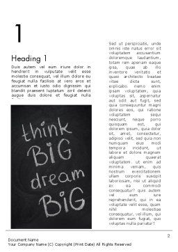 Think Big Dream Big on Chalk Board Word Template, First Inner Page, 13097, Business Concepts — PoweredTemplate.com