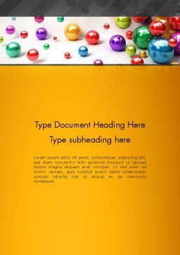 Shiny Colorful Balls Word Template, Cover Page, 13101, 3D — PoweredTemplate.com