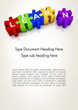 Learn Puzzle Word Template Cover Page