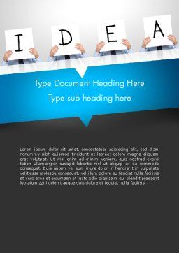 Presenting an Idea Word Template, Cover Page, 13165, Business Concepts — PoweredTemplate.com