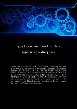 Abstract Blue Clockwork Word Template, Cover Page, 13167, Business Concepts — PoweredTemplate.com