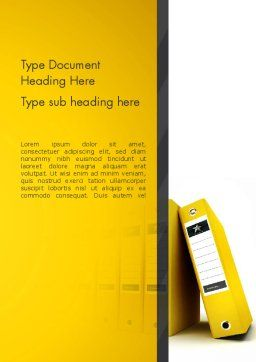 Yellow Binders Word Template, Cover Page, 13168, Business — PoweredTemplate.com