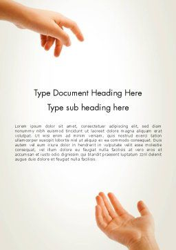 Child Outstretched Hand Word Template Cover Page