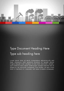 Industrial Silhouettes Word Template, Cover Page, 13194, Utilities/Industrial — PoweredTemplate.com