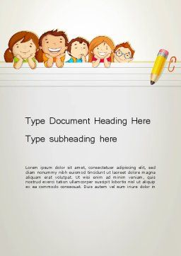 Back to School with Kids Word Template, Cover Page, 13195, Education & Training — PoweredTemplate.com