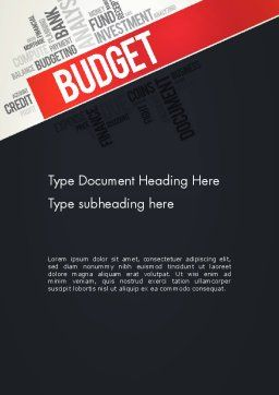 Budget Word Cloud Word Template, Cover Page, 13197, Financial/Accounting — PoweredTemplate.com
